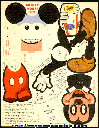 Old Unused Walt Disney Mickey Mouse NBC Bread Advertising Premium Mechanical Paper Puppet