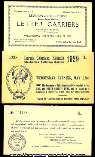 1929 Boston Postal District Letter Carrier Reunion & Reception Ticket And Envelope