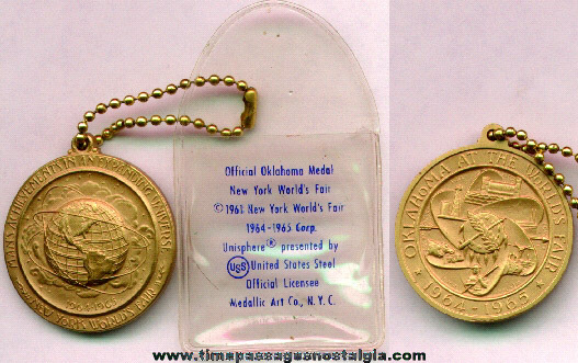 1964 - 1965 New York World's Fair Medal Fob With Original Vinyl Envelope