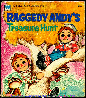 "�1973 Raggedy Andy's ""Treasure Hunt"" Hard Back Whitman Tell-A-Tale Book"