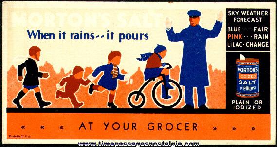 Old Morton's Salt Advertising Premium Weather Indicator / Ink Pen Blotter