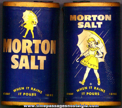 Old Morton's Salt Advertising Cardboard Can