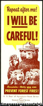 1954 Smokey The Bear Ink Blotter / Book Mark