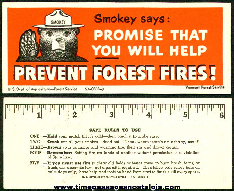 1953 Smokey The Bear Book Mark / Ruler