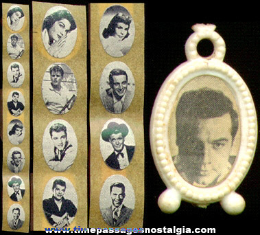 Scarce Unused Strip Of Movie Star Picture Stickers For Gumball Machine Charms