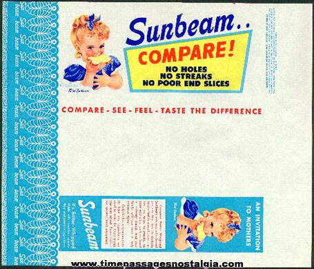 Old Unused Sunbeam Advertising Bread Wrapper