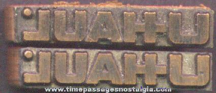 (2) U-Haul Advertising Printer's Print Blocks