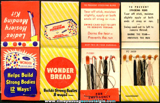 (2) Different Old Wonder Bread Advertising Premium Sewing Kits