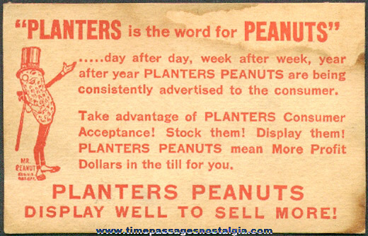 RARE Old Planter's Peanuts / Mr. Peanut Retailers Card