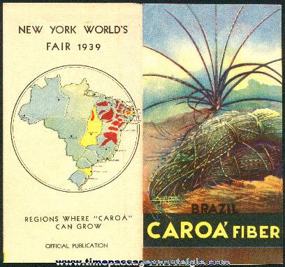 Official CAROA FIBER Brochure For The 1939 New York World's Fair