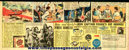 1936 Post's Bran Flakes Captain Frank's Air Hawks Newspaper Advertisement