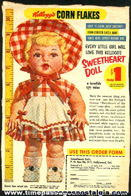 Old Kellogg's Corn Flakes Cereal Box Back With A Sweetheart Doll Premium Offer