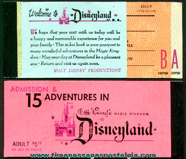 Old Disneyland Ticket Booklet