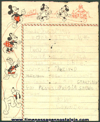 1946 Child Written Letter On Old Walt Disney Character Stationary