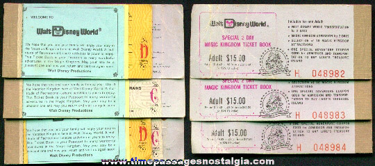 (3) Old Disneyworld Ticket Booklets