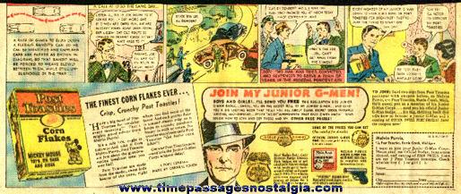 1936 Post Toasties Corn Flakes Melvin Purvis / G-Man Newspaper Advertisement