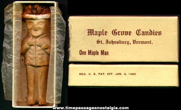 "Boxed 1920s Maple Grove Candies ""Maple Man"" + Bonus"