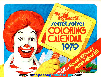 1979 Ronald McDonald Secret Solver Coloring Calendar