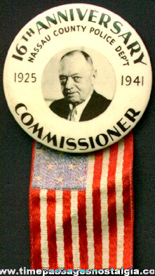 1941 Nassau County Police Department Pin Back Button With Hanging Flag