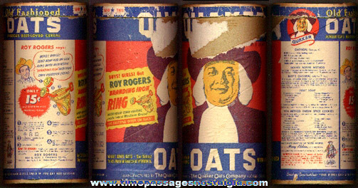 1948 Quaker Oats Cereal Can With A Roy Rogers Branding Iron Premium Ring Offer