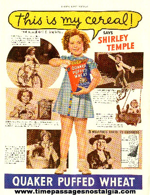 1937 Shirley Temple Quaker Puffed Wheat Cereal Advertisement