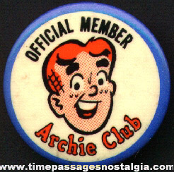 Official Archie Club Member Pin Back Button