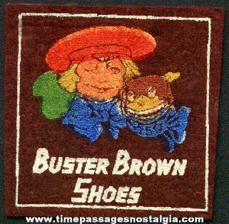 Old Painted Buster Brown Shoes Advertising Premium Felt Patch