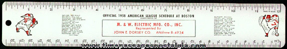 1958 Boston Red Sox Tin Advertising Premium Baseball Schedule Ruler