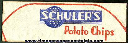 Old Schuler's Potato Chips Advertising Paper Vendors Hat