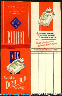 (2) Chesterfield Cigarettes Advertising Premium Bridge Score Pads