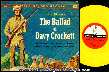 Old Walt Disney's Davy Crockett Little Golden Record With Picture Sleeve