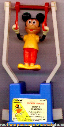 ©1975 Mickey Mouse Tricky Trapeze Push Button Acrobat Puppet
