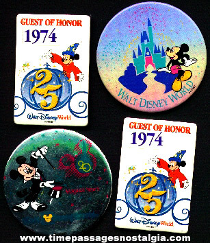 (4) Colorful Disneyworld Advertising Buttons