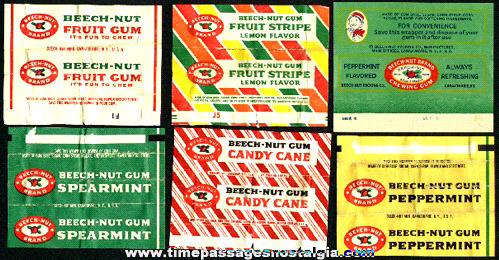 (6) Different Old Beech-Nut Chewing Gum Wrappers