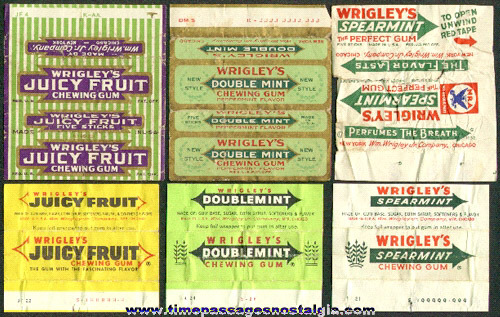(6) Different Old Wrigley's Chewing Gum Wrappers