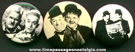 (3) Different Laurel & Hardy Pin Back Buttons