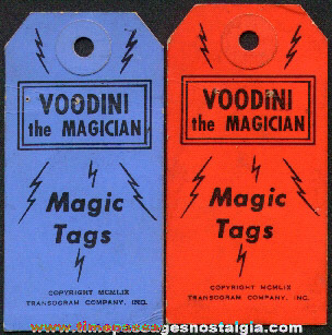 (2) Old Voodini The Magician Magic Tags