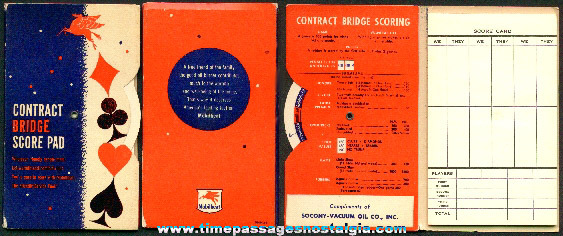 (2) Mobil / Socony Premium Contact Bridge Scoring Booklets