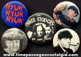 (5) Three Stooges Pin Back Buttons