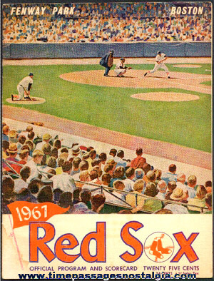 1967 Boston Red Sox Fenway Park Baseball Program