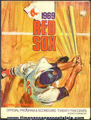 1969 Boston Red Sox Fenway Park Baseball Program
