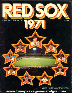 1971 Boston Red Sox Fenway Park Baseball Program
