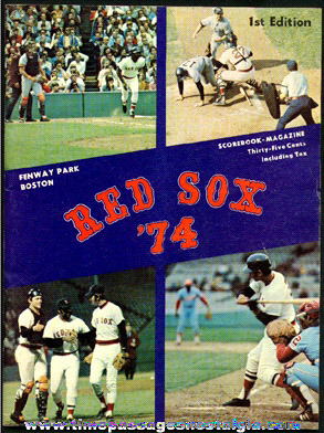 1974 Boston Red Sox Fenway Park Baseball Program