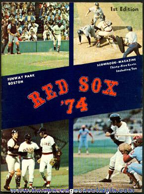 1974 Boston Red Sox Fenway Park Baseball Program