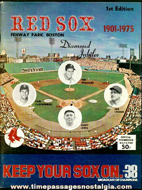 1975 Boston Red Sox Fenway Park 1st Edition Diamond Jubilee Baseball Program