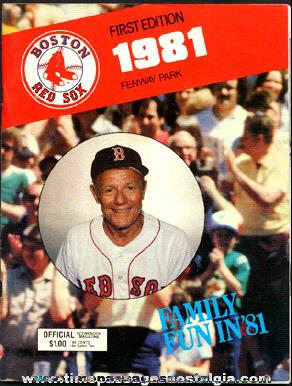1981 Boston Red Sox Fenway Park Baseball Program