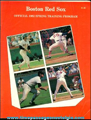 1982 Boston Red Sox Fenway Park Spring Training Baseball Program