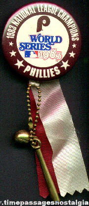 1983 Philadelphia Phillies World Series National League Champions Pin Back Button