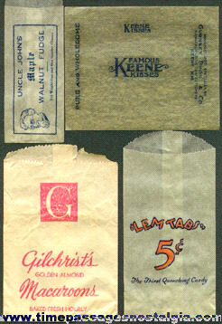 (4) Different Old Candy Glassine Wrappers / Envelopes