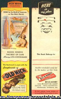 Old Nick & Bit-O-Honey Candy Bar Advertising Premium Book Mark